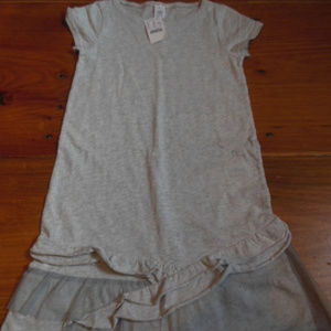 New! CREWCUTS 10 yr Gray T-Shirt Dress Tulle Trim